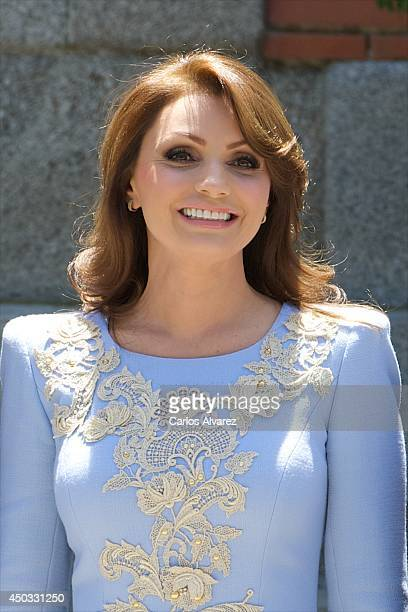 Mexican President's wife Angelica Rivera poses for the photographers during a lunch at Zarzuela Palace on June 9 2014 in Madrid Spain