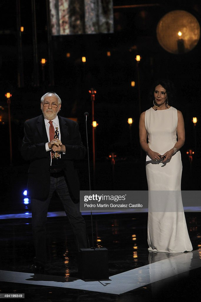 Mexican producer and director Arturo Ripstein receives the Ariel Award to honor his carrer during the 56th Ariel Awards Ceremony at Palace of Fine...