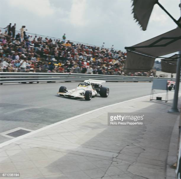 Mexican racing driver Pedro Rodriguez drives the BRM P160 BRM V12 for Yardley Team BRM to finish in 9th place in the 1971 Monaco Grand Prix in Monte...