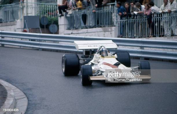 Mexican racing driver Pedro Rodriguez drives the Yardley Team BRM BRM P160 BRM V12 to finish in 9th place in the 1971 Monaco Grand Prix at the...