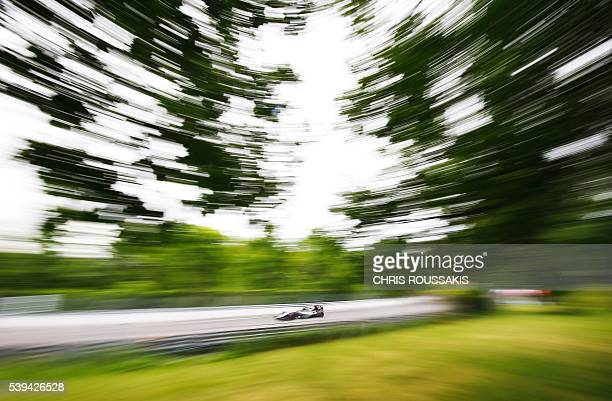 Mexican racing driver Sergio Perez of team Force India makes his way through the track during the qualifying session for the Canadian Formula 1 Grand...