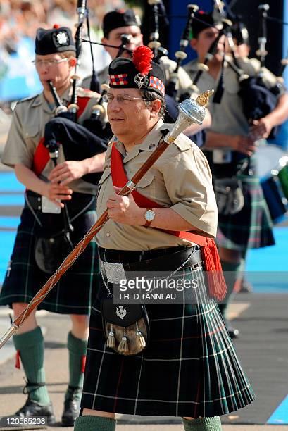 Mexican San Patricio Batallon Pipe band perform on August 7 2011 in Lorient during the celtics nations Great Parade of the 'festival interceltique de...