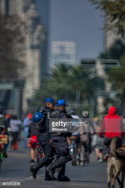 Mexican security national police walking among people