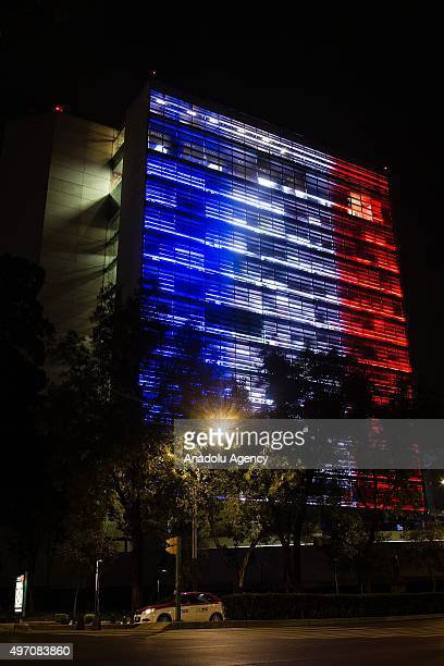 Mexican Senate is seen with the colors of France in Mexico City Mexico November 14 2015 Representative monuments of Mexico City illuminated with the...