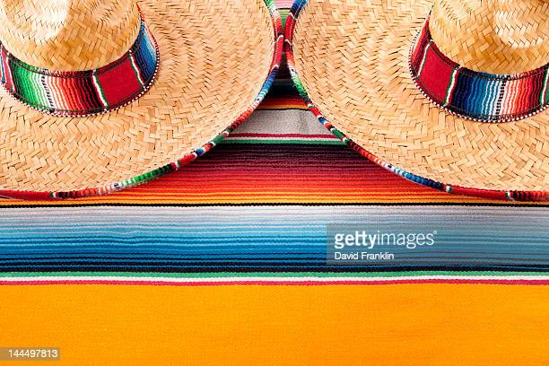 Mexican serape blanket and sombreros