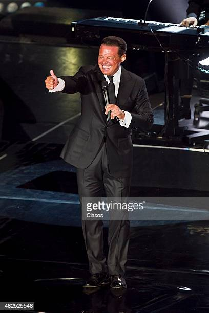 Mexican singer Luis Miguel performs during a concert at National Auditorium on January 29 2015 in Mexico City Mexico