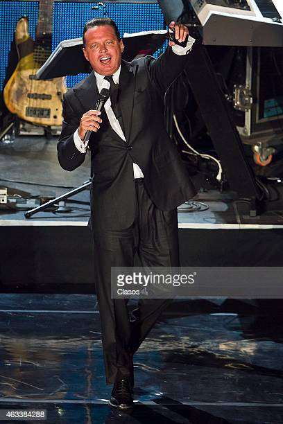 Mexican singer Luis Miguel performs during a show at National Auditorium on February 12 2015 in Mexico City Mexico