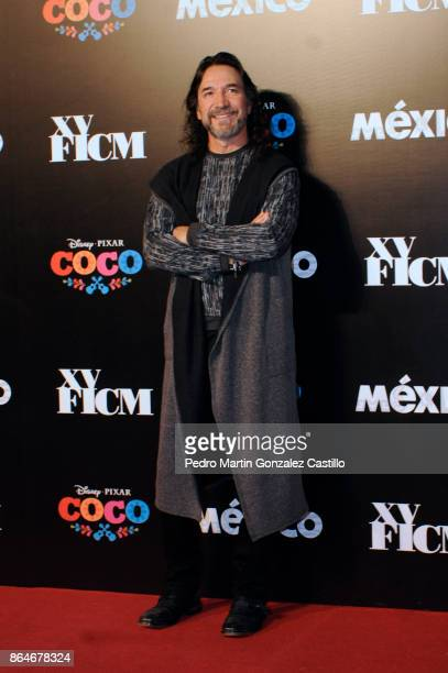 Mexican singer Marco Antonio Solís poses from the red carpet during the DisneyPixar film 'Coco' premiere as part of the Inauguration of the XV...
