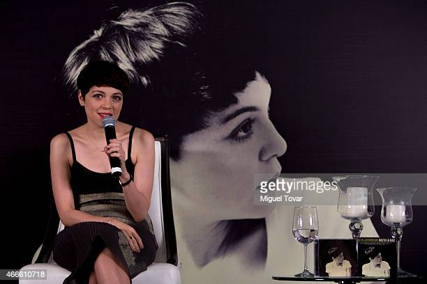 Mexican singer Natalia Lafourcade speaks during a press conference to promote her new album 'Hasta la Ra'íz' on March 17 2015 in Mexico City Mexico