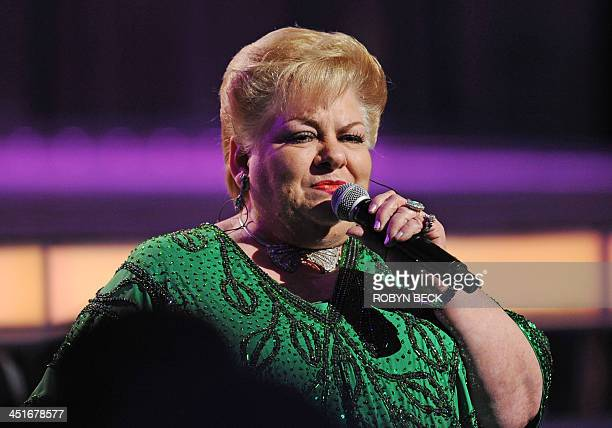 Mexican singer Paquita la del Barrio performs at the 14th annual Latin Grammy Awards November 21 2013 at the Mandalay Bay Resort and Casino in Las...