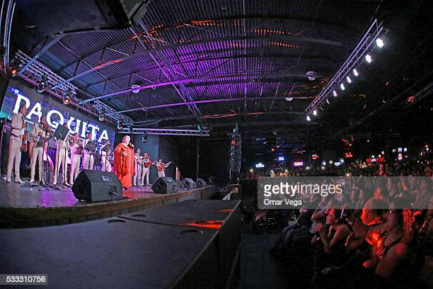 Mexican singer Paquita la del Barrio performs during a concert at Farwest on May 20 2016 in Dallas United States