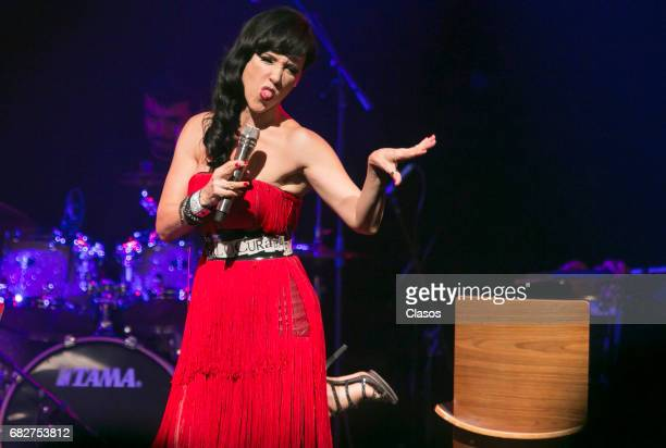 Mexican singer Susana Zabaleta performs during a show at Lunario del Auditorio Nacional on April 29 2017 in Mexico City Mexico
