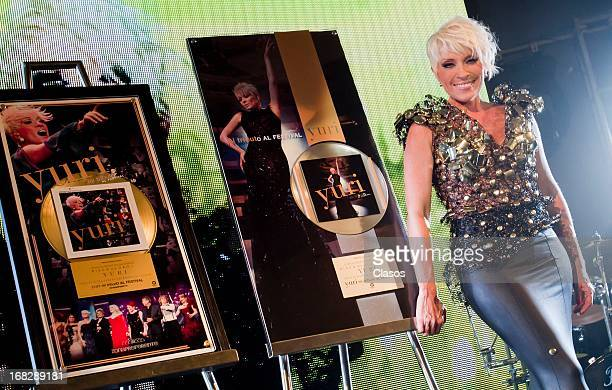 Mexican singer Yuri during a Show case and press conference for reaching the gold and platinum disc on May 6 2013 in Mexico City Mexico