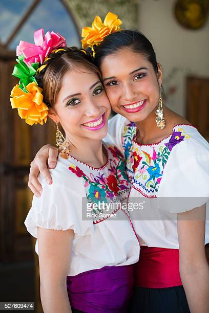 Mexican sisters in traditional clothing, Wellington, Palm Beach County, Florida, USA
