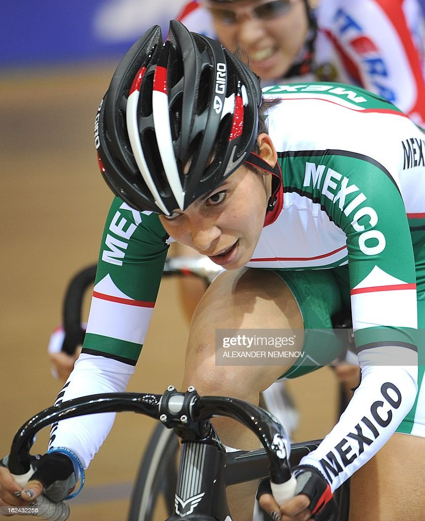 Mexican Sofia Arreola Navarro competes for the silver in the Womens' 25 km Point Race event of the UCI Track Cycling World Championships in Minsk on February 23, 2013.