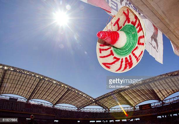 Mexican sombrero hangs from a stand before the Group G first round match Croatia/Mexico of the 2002 FIFA World Cup in Korea and Japan 03 June 2001 at...