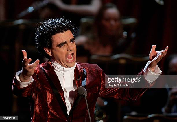 Mexican tenor Rolando Villazon performs on stage during the live broadcast of German television show 'Wetten dass at the Westfalenhalle March 3 2007...