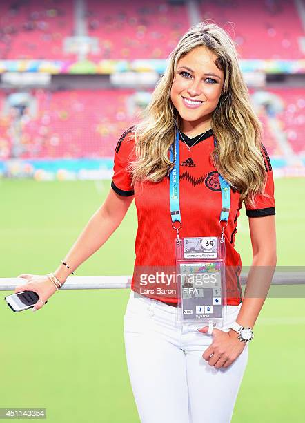 Mexican TV presenter Vanessa Huppenkothen poses prior to the 2014 FIFA World Cup Brazil Group A match between Croatia and Mexico at Arena Pernambuco...