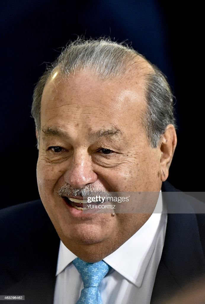 Mexican tycoon <a gi-track='captionPersonalityLinkClicked' href=/galleries/search?phrase=Carlos+Slim&family=editorial&specificpeople=584959 ng-click='$event.stopPropagation()'>Carlos Slim</a> smiles as he arrives to a reception in honor of Turkish President Recep Tayyip Erdogan and his wife Emine as guest of Mexico's President Enrique Pena Nieto at the National Palace in Mexico City on February 12, 2015. Erdogan is in Mexico on a two-day official visit. AFP PHOTO/ Yuri CORTEZ