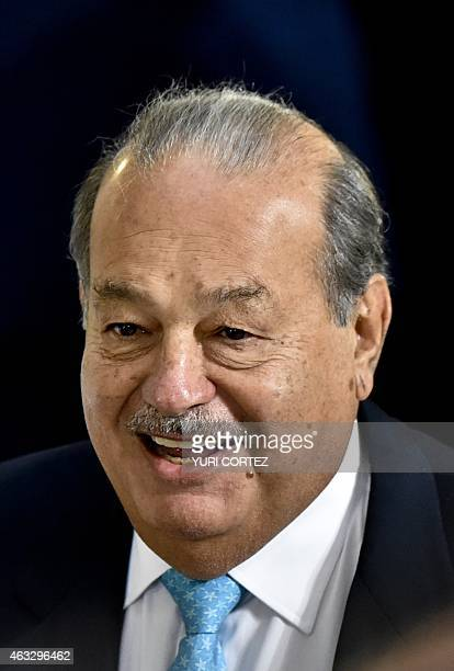 Mexican tycoon Carlos Slim smiles as he arrives to a reception in honor of Turkish President Recep Tayyip Erdogan and his wife Emine as guest of...