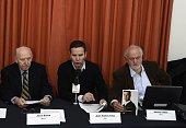 Mexican victim of pedophilia Jose Barba Chilean victim of the pedophilia Juan Carlos Cruz and Mexican former priest Alberto Athie attend a press...