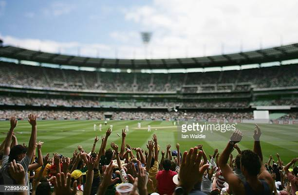 A mexican wave circulates through the crowd during the fourth Ashes test at the Melbourne Cricket Ground on December 28 2006 in Melbourne Australia...
