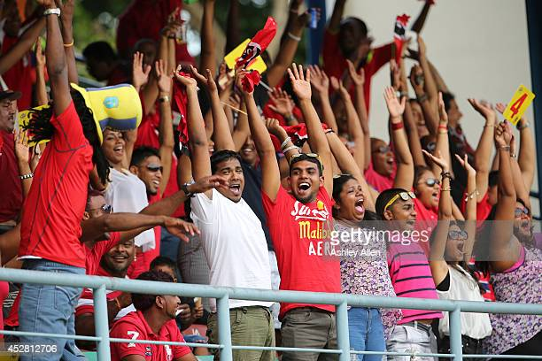 Mexican wave during a match between The Trinidad and Tobago Red Steel and St Lucia Zouks as part of the week 3 of Caribbean Premier League 2014 at...