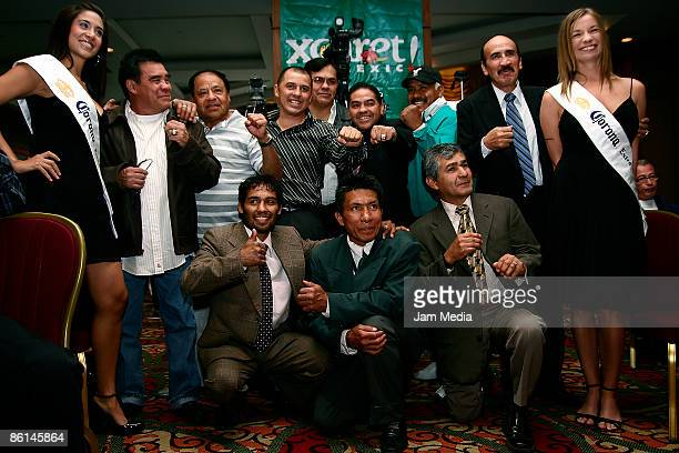 Mexican World Champion Boxers during the boxing press conference of the Mayan Challenge at Xcaret in Hotel JW Marriot on April 21 2009 in Mexico City