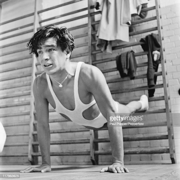 Mexican wrestler Jose Luis Perez in training at a gym at the Olympic village at Uxbridge Middlesex during the London Olympics July 1948