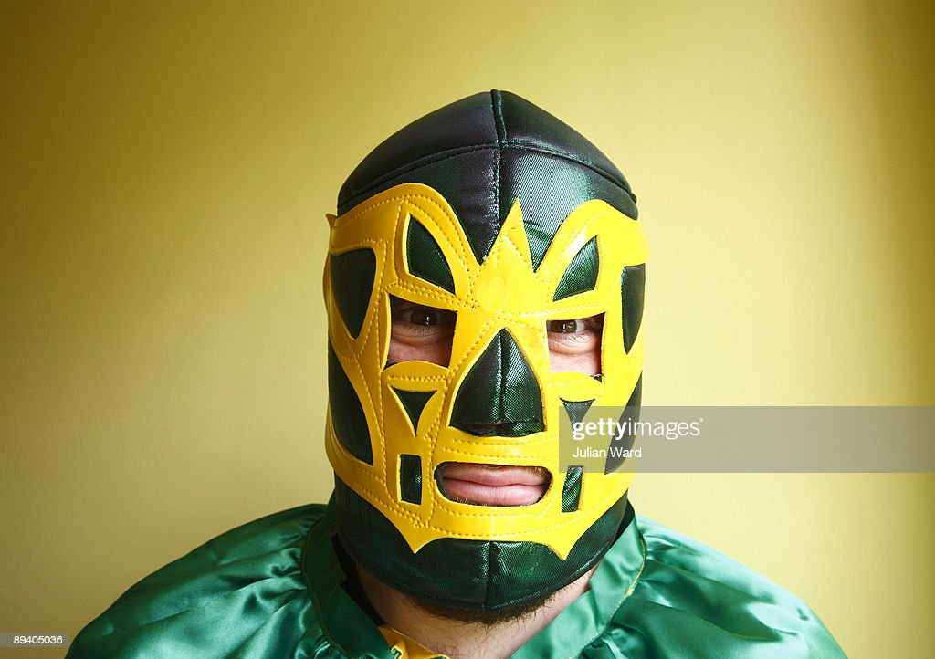Mexican Wrestler looking straight at camera : Stock Photo