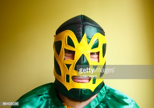 Mexican Wrestler looking straight at camera