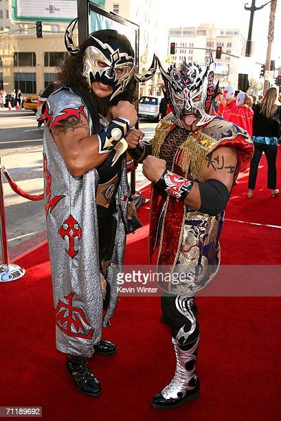 Mexican wrestlers El Oriental and Psicosis arrive at the premiere of Paramount Pictures 'Nacho Libre' held at the Grauman's Chinese Theatre on June...
