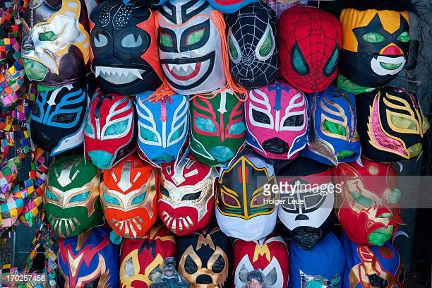 Mexican wrestling masks at souvenir shop