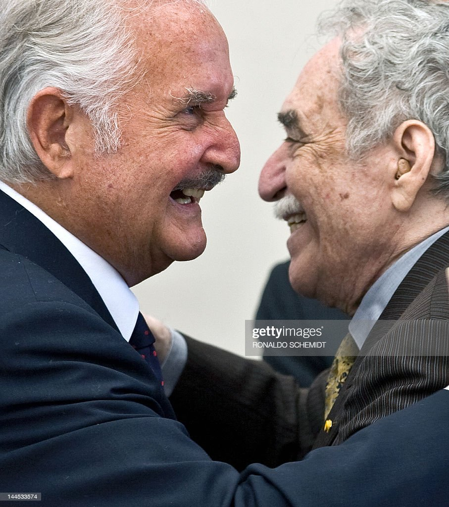 Mexican writer <a gi-track='captionPersonalityLinkClicked' href=/galleries/search?phrase=Carlos+Fuentes&family=editorial&specificpeople=602894 ng-click='$event.stopPropagation()'>Carlos Fuentes</a> (L) is congratulated by Nobel Prize winner Colombian writer <a gi-track='captionPersonalityLinkClicked' href=/galleries/search?phrase=Gabriel+Garcia+Marquez&family=editorial&specificpeople=274713 ng-click='$event.stopPropagation()'>Gabriel Garcia Marquez</a> during a celebration for Fuentes' 80th birthday in Mexico City, on November 17, 2008. Mexican <a gi-track='captionPersonalityLinkClicked' href=/galleries/search?phrase=Carlos+Fuentes&family=editorial&specificpeople=602894 ng-click='$event.stopPropagation()'>Carlos Fuentes</a> died on May 15, 2012 informed Mexican President Felipe Calderon. He was 83. AFP PHOTO/Ronaldo SCHEMIDT