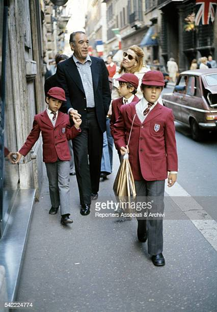 Mexicanborn American actor Anthony Quinn having a walk in Rome with his sons Francesco Lorenzo Danny and his wife Jolanda Addolori Rome 1973