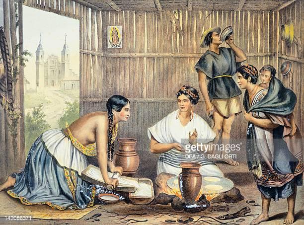 Mexicans preparing tortillas Mexico 19th century