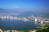 Mexico, Acapulco Bay, High angle view of the waterfront