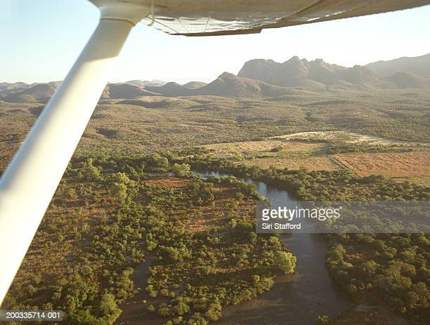 Mexico, Alamos, private plane flying over Rio Mayo