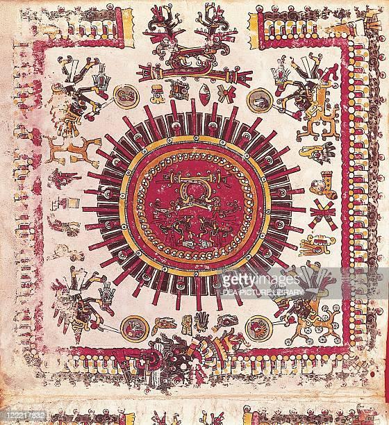 Mexico Aztec Art Aztec calendar Drawing from Codex Borgianus From Biblioteca Apostolica Vaticana