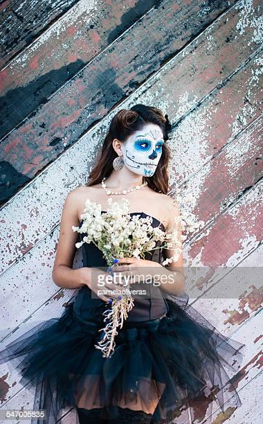 Mexico, Baja California, Portrait of in costume for Day of Dead