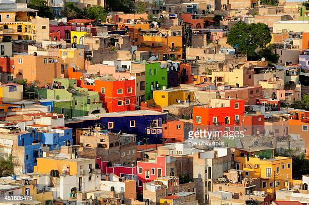Mexico Bajio Guanajuato Elevated view over colorful housing with flat rooftops