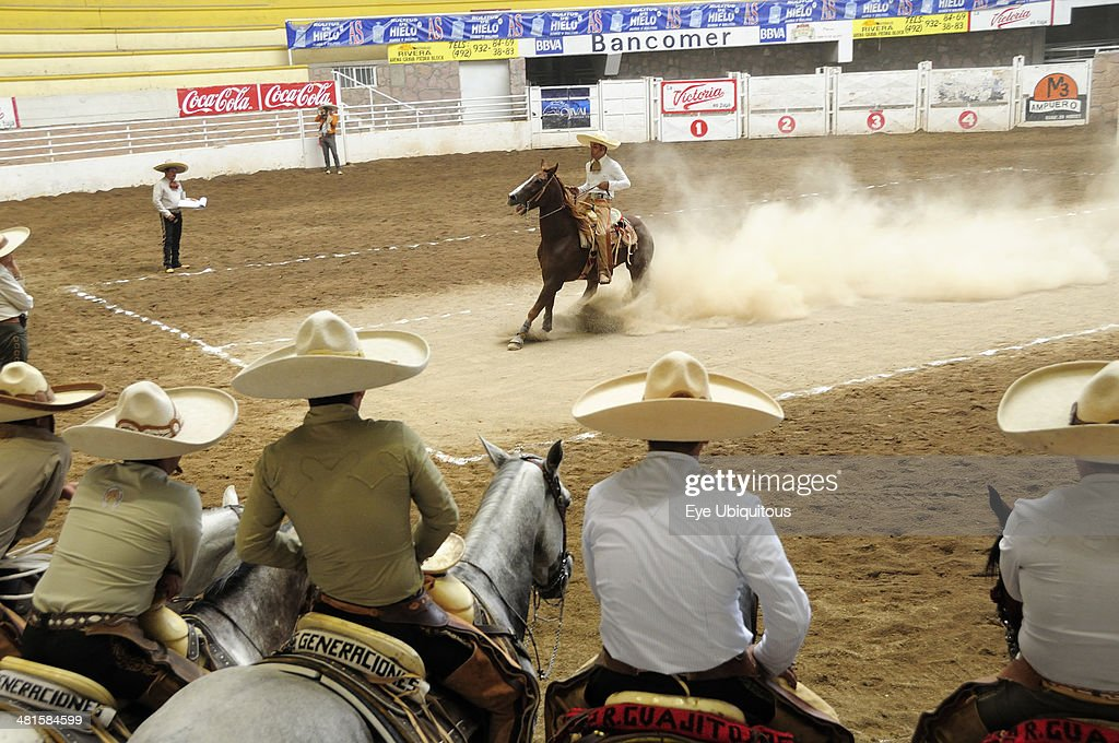 Mexico Bajio Zacatecas Traditional horsemen or Charros competing in Mexican rodeo