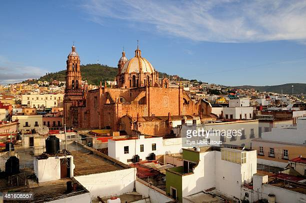 Mexico Bajio Zacatecas View Across Flat Rooftops and Houses Towards Cathedral