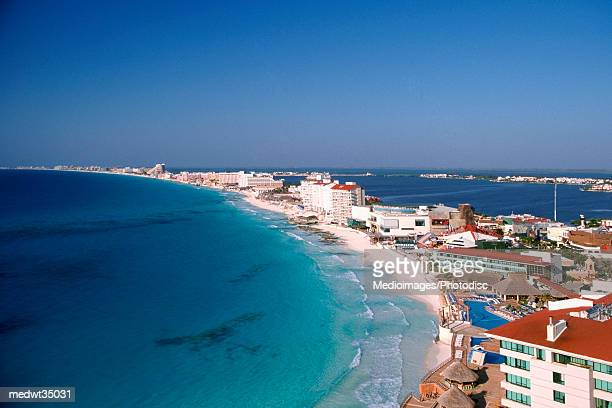 Mexico, Cancun, Aerial view of hotels