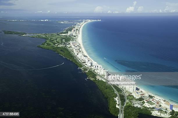 México, Cancún, vista aérea de Quintana Roo