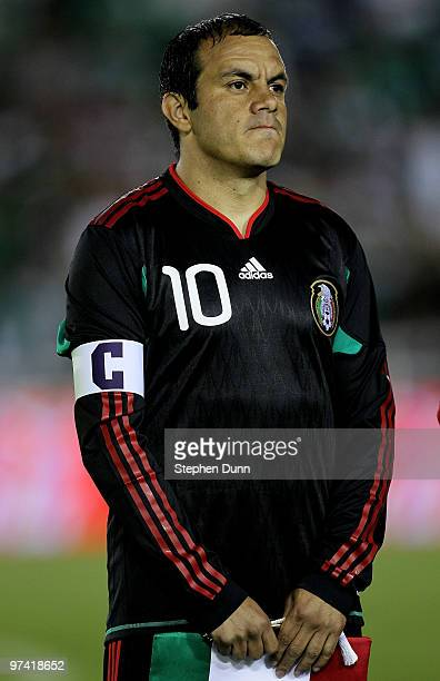Mexico captain Cuauhtemoc Blanco stands during ceremonies before playing New Zealand in an international friendly at the Rose Bowl on March 3 2010 in...