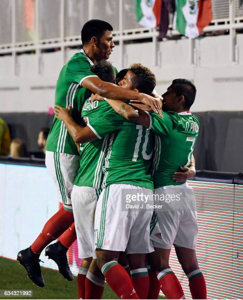 Mexico celebrates a goal against Iceland during the first half of their exhibition match at Sam Boyd Stadium on February 8 2017 in Las Vegas Nevada...