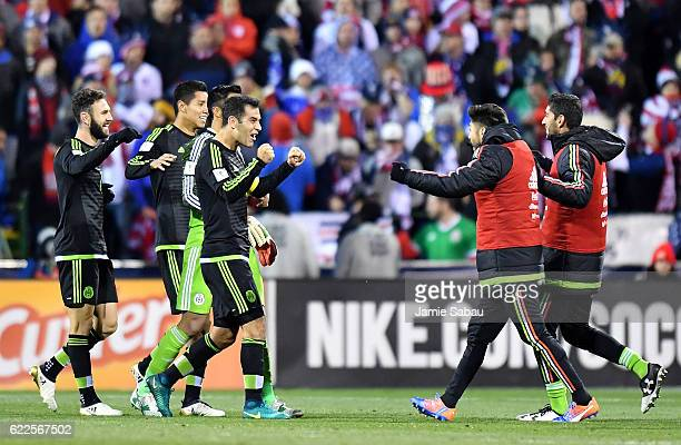 Mexico celebrates after defeating the United States 21 in the FIFA 2018 World Cup Qualifier at MAPFRE Stadium on November 11 2016 in Columbus Ohio