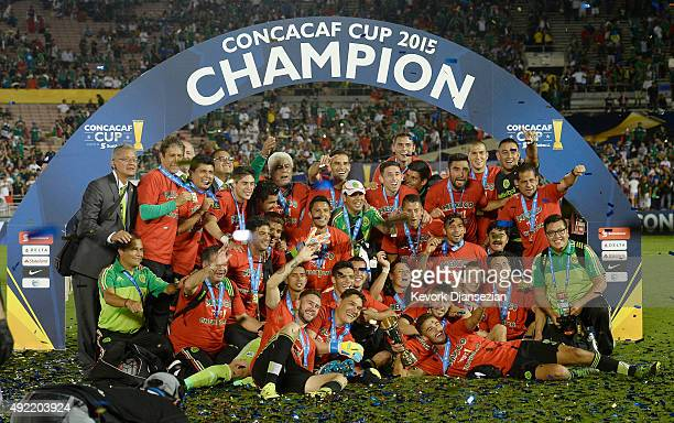 Mexico celebrates after defeating the United States 32 in overtime during the 2017 FIFA Confederations Cup Qualifier at Rose Bowl on October 10 2015...