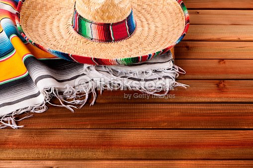 Mexico Cinco De Mayo Wood Background Mexican Sombrero Stock Photo
